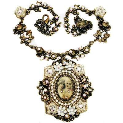 Michal Negrin White Baroque Medallion Necklace