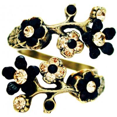 Michal Negrin Black Gold Cherry Blossom Wrap Ring