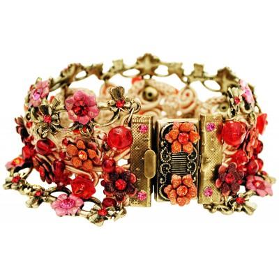 Michal Negrin Red Fuchsia Tangerine Crochet Bracelet