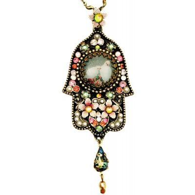 Michal Negrin Peace Doves Mosaic Hamsa Necklace