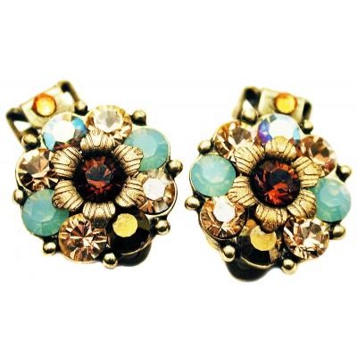 Michal Negrin Mint Green Bronze Crystals Clip Earrings