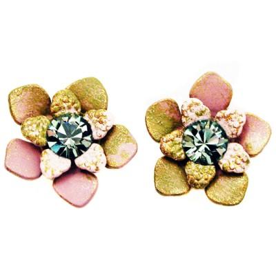 Michal Negrin Tiedye Pink Green Swirl Stud Earrings