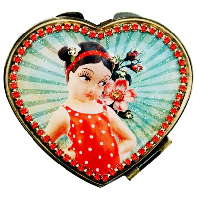 Michal Negrin Retro Girl Heart Compact Mirror