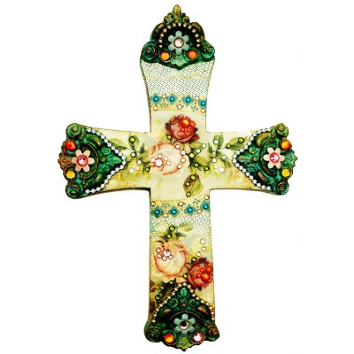 Michal Negrin Vintage Roses Wall Decor Large Cross