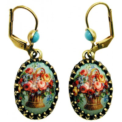 Michal Negrin Basket of Roses Cabochon Cameo Earrings