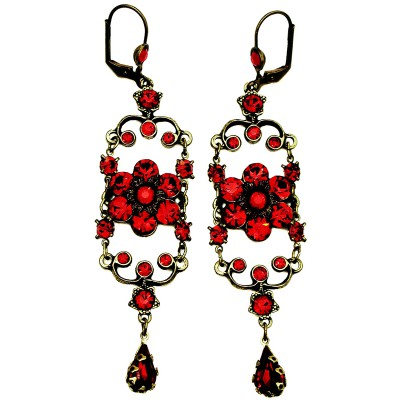 Michal Negrin Red Iconic Chandelier Earrings
