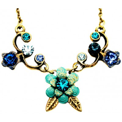 Michal Negrin Blue Turquoise Aqua Flower Necklace