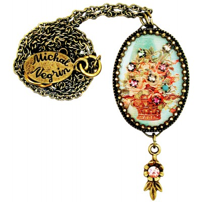 Michal Negrin Basket of Roses Oval Cameo Necklace