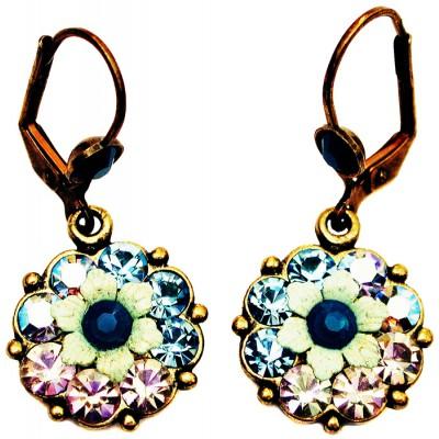 Michal Negrin Aqua Lilac Silver Flower Earrings