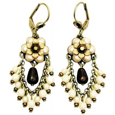 Michal Negrin Pearl Bronze Fan Earrings