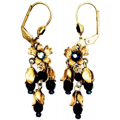 Michal Negrin Black Mirror Blue Floral Beads Earrings
