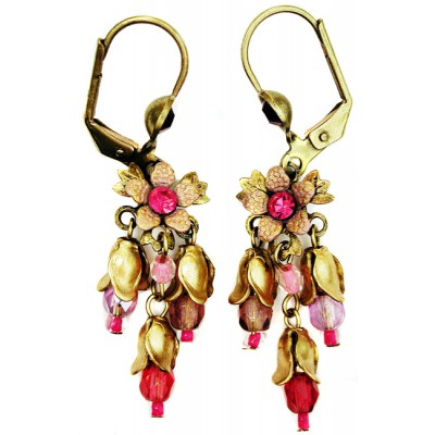 Michal Negrin Fuchsia Floral Beads Earrings