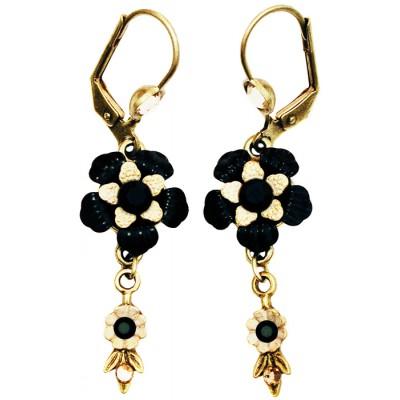 Michal Negrin Black Cream Vintage Flower Earrings