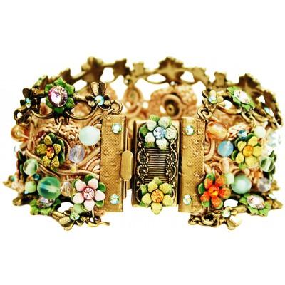Michal Negrin Multicolor Green Crochet Bracelet