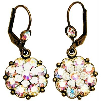 Michal Negrin Aurora Borealis Crystal Flower Earrings