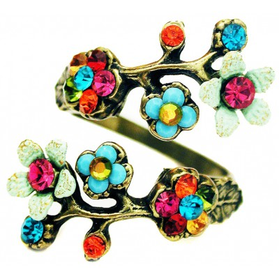 Michal Negrin Multicolor Cherry Blossom Wrap Ring