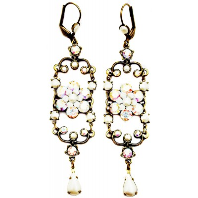 Michal Negrin Pearl Aurora Borealis Iconic Chandelier Earrings
