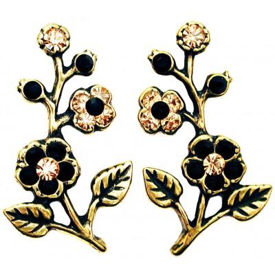 Michal Negrin Black Gold Cherry Blossom Stud Earrings
