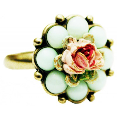 Michal Negrin Light Green Beads Flower Ring
