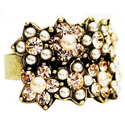 Michal Negrin Pearl Peach Double Row Ring