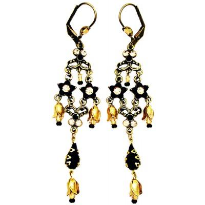 Michal Negrin Black Gold Stars Drop Earrings