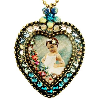 Michal Negrin Ballerina Crystal Heart Necklace