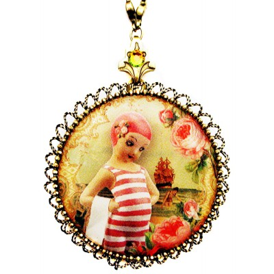 Michal Negrin Swimmer Girl Cameo Locket Necklace