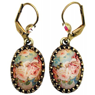 Michal Negrin Baroque Roses Cabochon Cameo Earrings