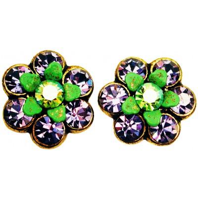 Michal Negrin Purple Green Crystal Flower Stud Earrings