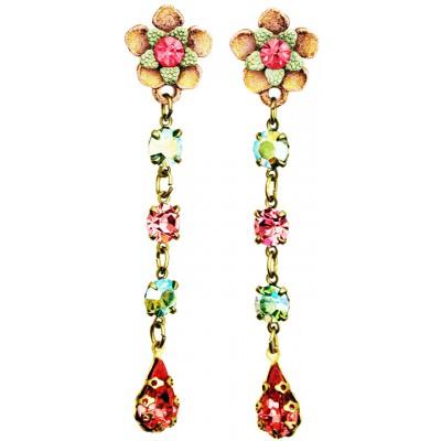 Michal Negrin Pink Green Post Earrings