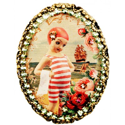 Michal Negrin Swimmer Girl Cameo Brooch