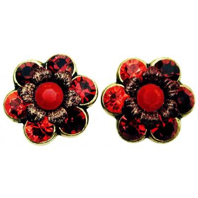 Michal Negrin Red Tones Crystal Flower Stud Earrings
