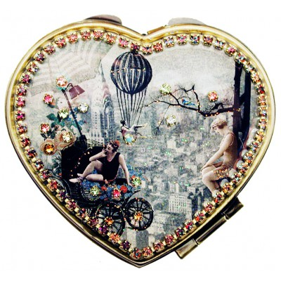 Michal Negrin 1920s New York Heart Compact Mirror
