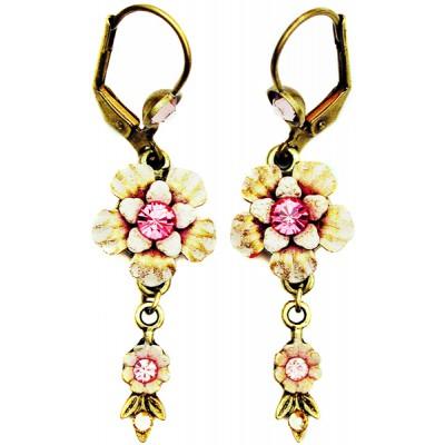 Michal Negrin Pink Vintage Flower Crystal Earrings