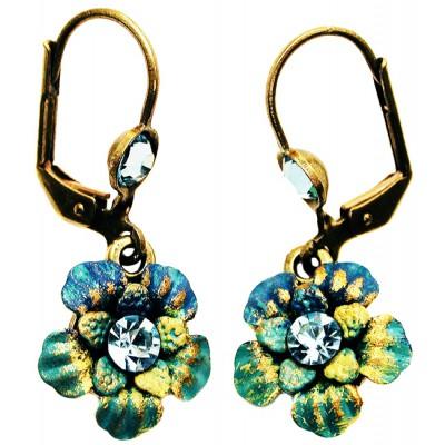 Michal Negrin Aqua Swirl Crystals Flower Earrings