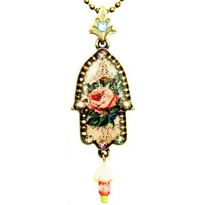 Michal Negrin Antique Rose Hamsa Necklace