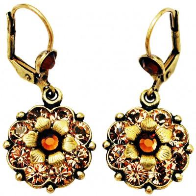 Michal Negrin Gold Bronze Crystal Flower Earrings