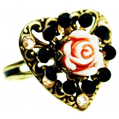Michal Negrin Black Peach Heart Carved Rose Ring