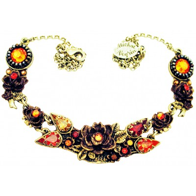 Michal Negrin Tangerine New York Roses Necklace