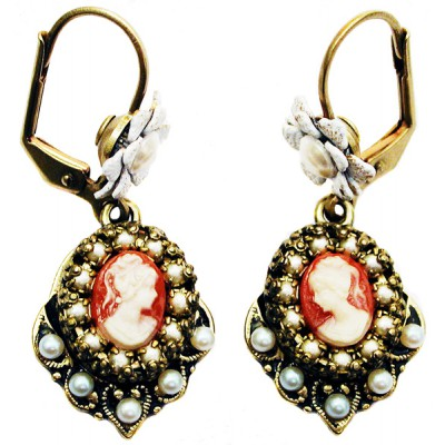 Michal Negrin Pearl Woman Cameo Earrings