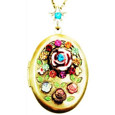 Michal Negrin Multicolor Victorian Carved Rose Locket Necklace