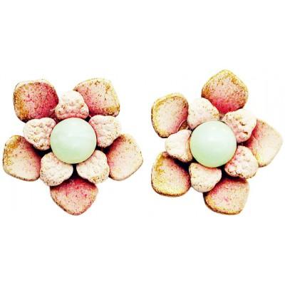 Michal Negrin Light Pink Green Beads Flower Stud Earrings