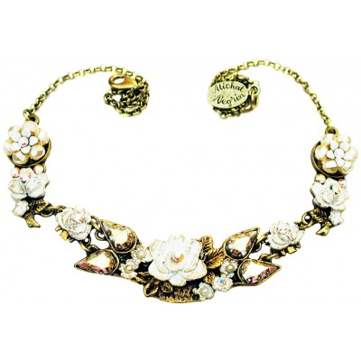 Michal Negrin White New York Roses Necklace