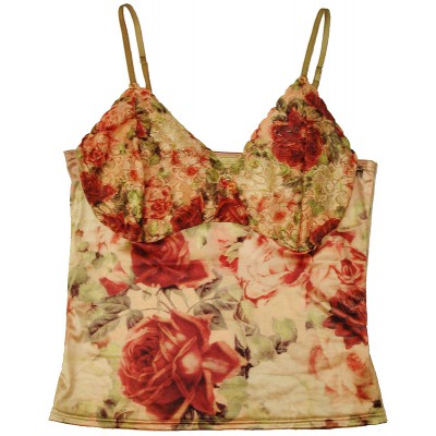 Michal Negrin Vintage Roses Satin Lace Cami Top