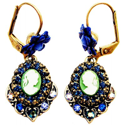 Michal Negrin Blue Woman Cameo Earrings