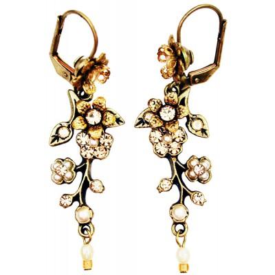 Michal Negrin Pearl Peach Cherry Blossom Earrings