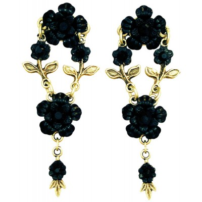 Michal Negrin Black Floral Post Earrings