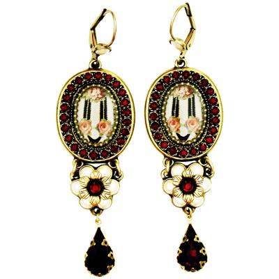 Michal Negrin Pearl Garnet Roses Drop Earrings
