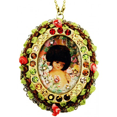 Michal Negrin Large Vintage Doll Locket Necklace