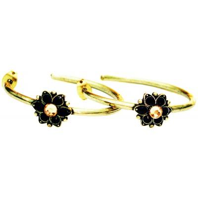 Michal Negrin Black Gold Single Flower Hoop Earrings